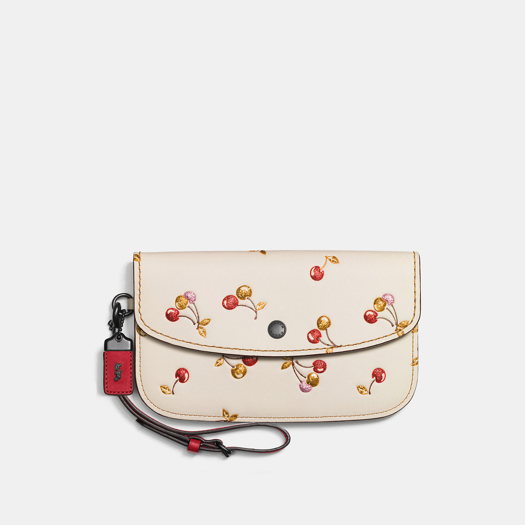 Coach Clutch In Glovetanned Leather With Cherry Print