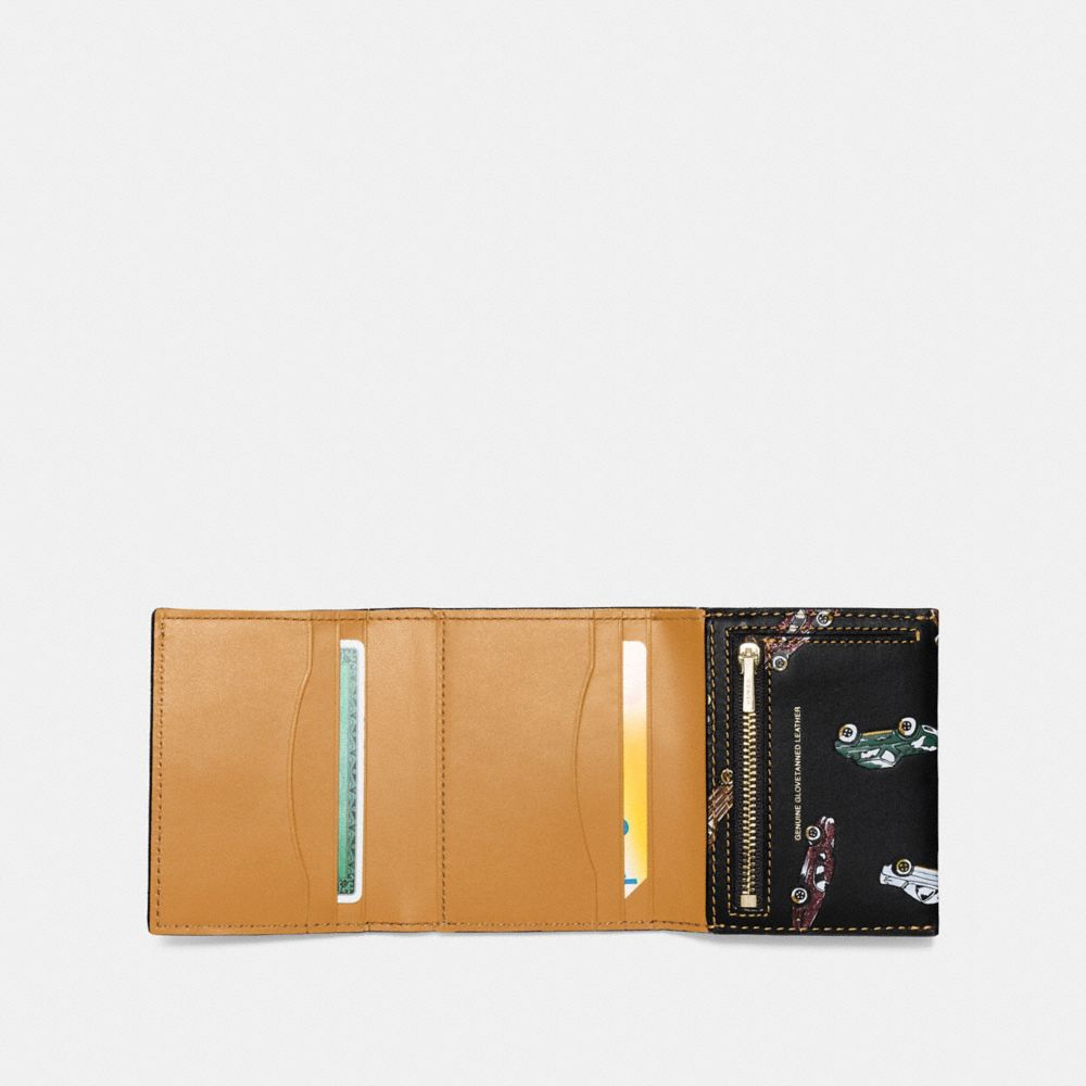 Coach Small Trifold Wallet With Car Print Alternate View 1