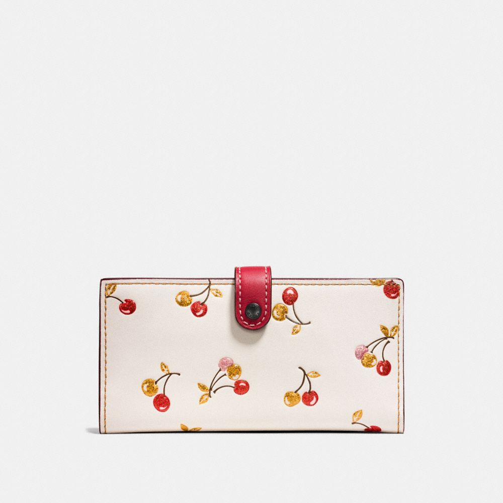 Coach Slim Trifold Wallet With Cherry Print