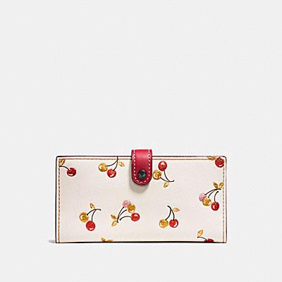 櫻桃印花棒球手套鞣製皮革薄型三折式皮夾