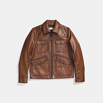 磨光皮革四口袋皮夾克