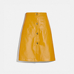 LEATHER SKIRT WITH TURNLOCKS - YOLK - COACH 2202
