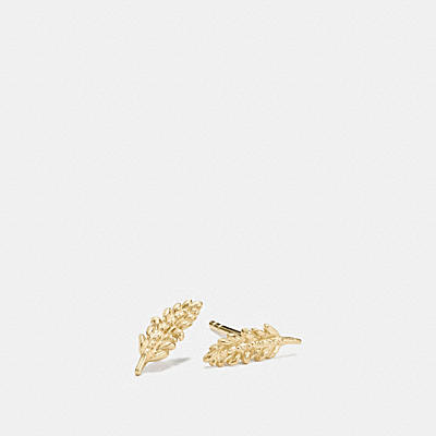 MINI 18K GOLD PLATED FEATHER STUD EARRINGS