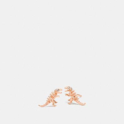 鍍18K金迷你REXY恐龍釘飾耳環