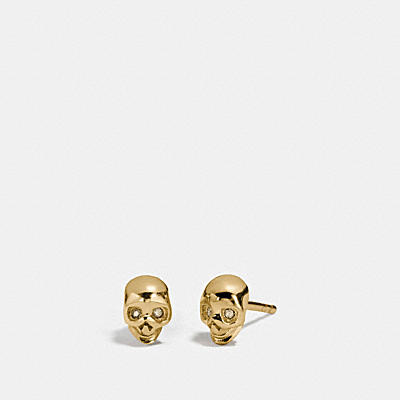 MINI 18K GOLD PLATED SKULL STUD EARRINGS