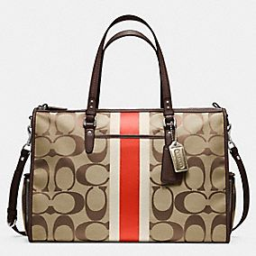 BABY BAG SIGNATURE STRIPE DOUBLE ZIP TOTE