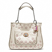 POPPY EYELET LEATHER MEDIUM CHAIN TOTE