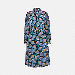 BOLD GEO MOCK NECK DRESS WITH SPORTY STRIPE - GREEN/BLUE - COACH 2278