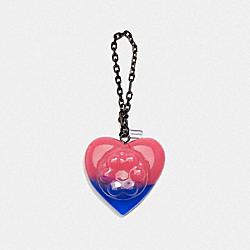 COACH X RICHARD BERNSTEIN JELLO HEART BAG CHARM - V5/PINK BLUE - COACH 227