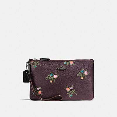 十字繡花卉印花小型手腕包