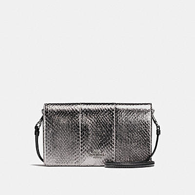 FOLDOVER CROSSBODY CLUTCH IN METALLIC SNAKESKIN