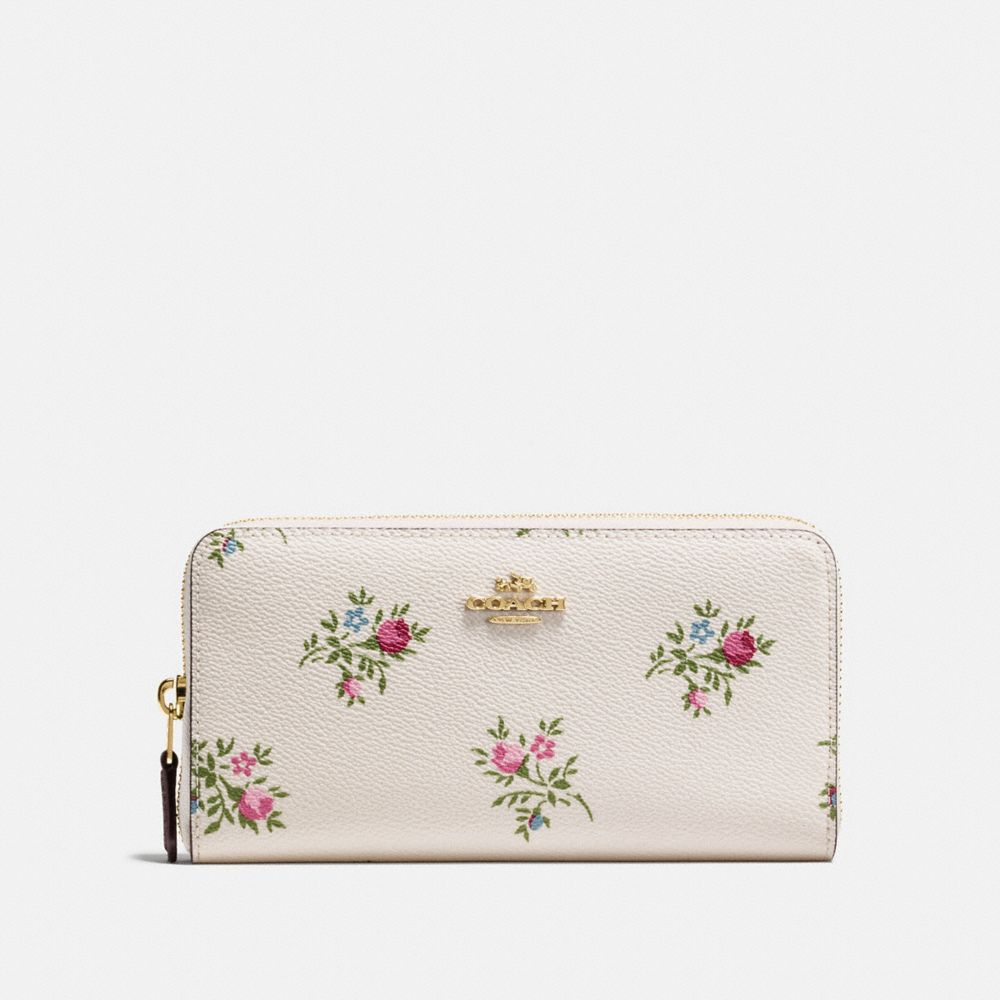 Coach Accordion Zip Wallet With Cross Stitch Floral Print