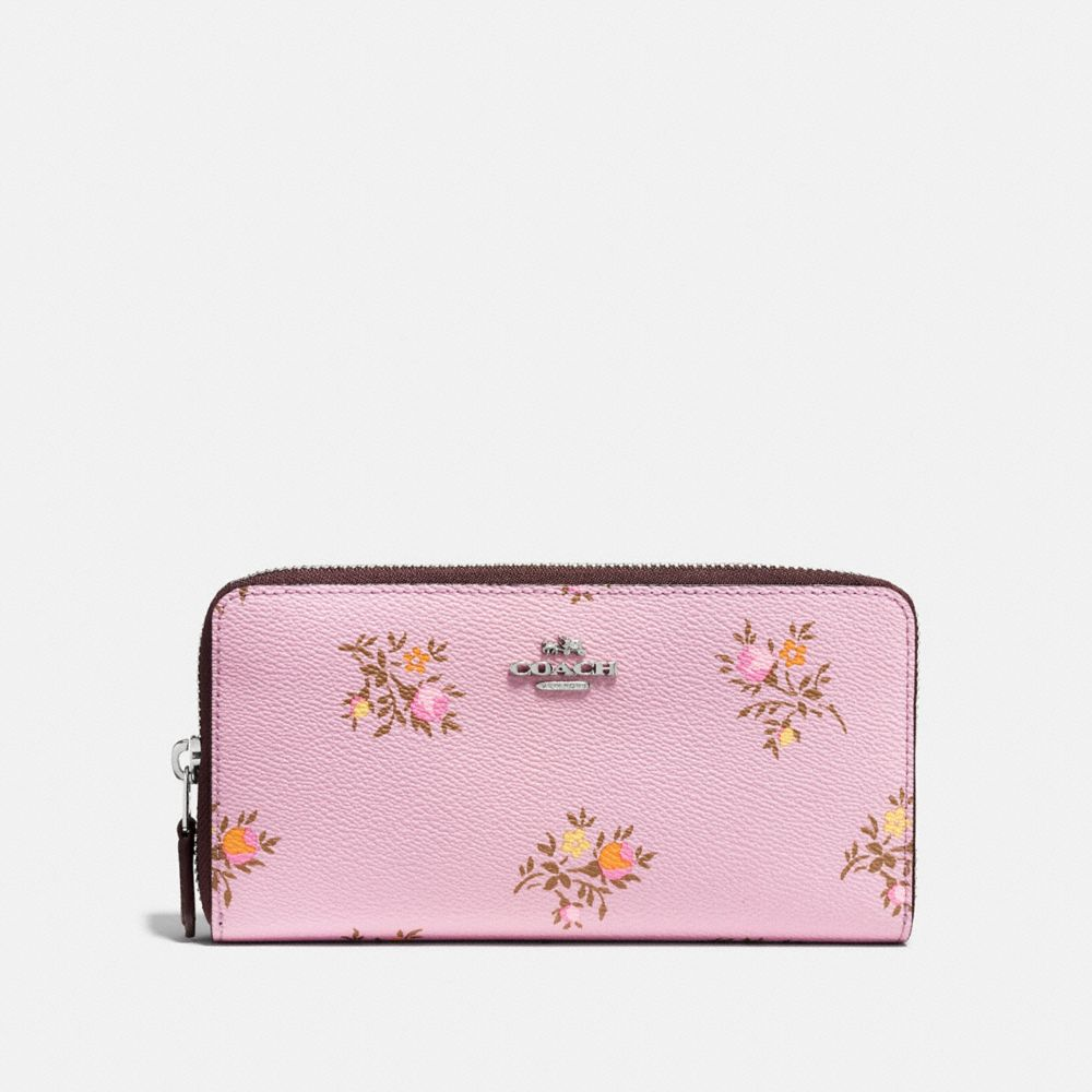 ACCORDION ZIP WALLET WITH CROSS STITCH FLORAL PRINT
