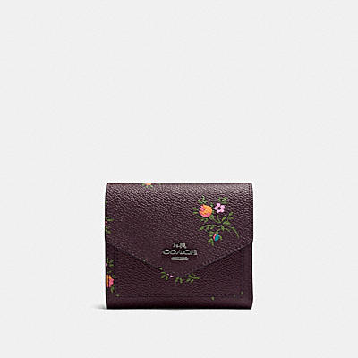 SMALL WALLET WITH CROSS STITCH FLORAL PRINT