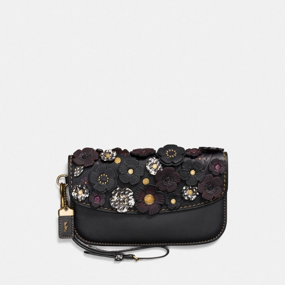 COACH CLUTCH WITH SNAKESKIN SMALL TEA ROSE - WOMEN'S