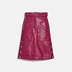 BELTED LEATHER SKIRT - TWEED BERRY - COACH 2293