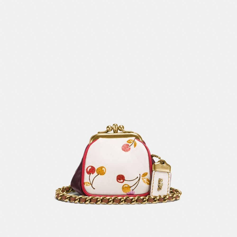 Coach Kisslock Pouch With Cherry Print