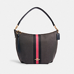 SKYLAR HOBO WITH VARSITY STRIPE - IM/BLACK/ ELECTRIC PINK - COACH 2299