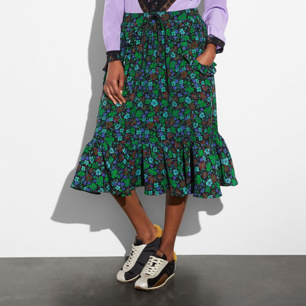 Coach Daisy Print Ruffle Skirt Alternate View 1