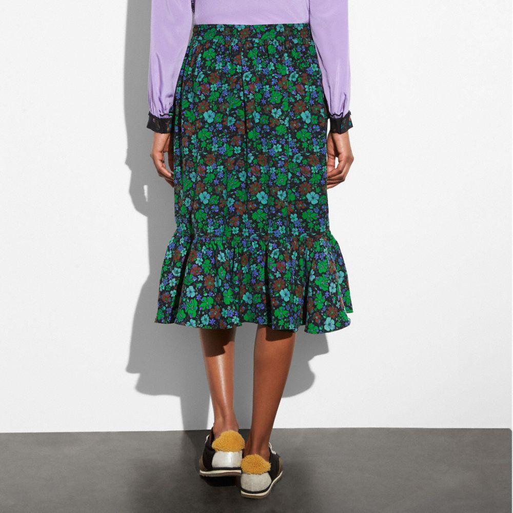 Coach Daisy Print Ruffle Skirt Alternate View 2