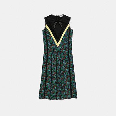 데이지 프린트 슬리브리스 바시티 드레스