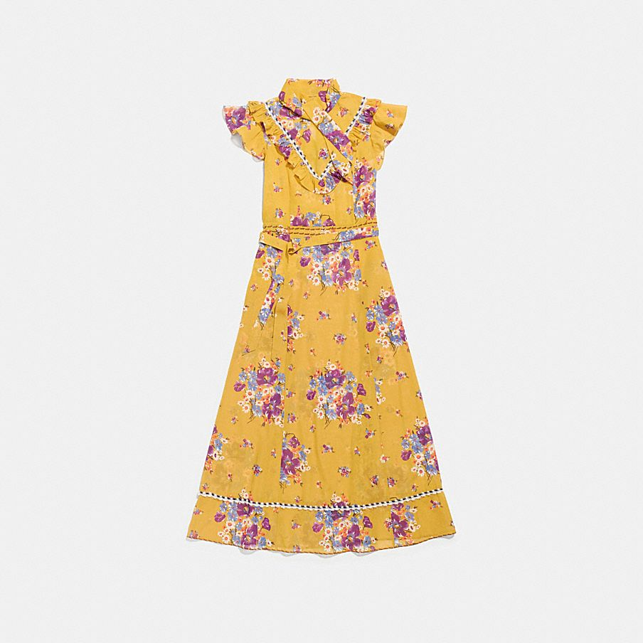 DAISY BOUQUET SLEEVELESS WESTERN DRESS WITH NECKTIE