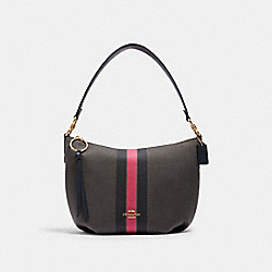 SMALL SKYLAR HOBO WITH VARSITY STRIPE - IM/BLACK/ ELECTRIC PINK - COACH 2301