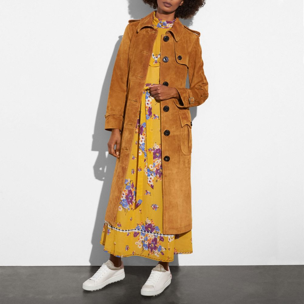 Coach Suede Trench Coat Alternate View 1