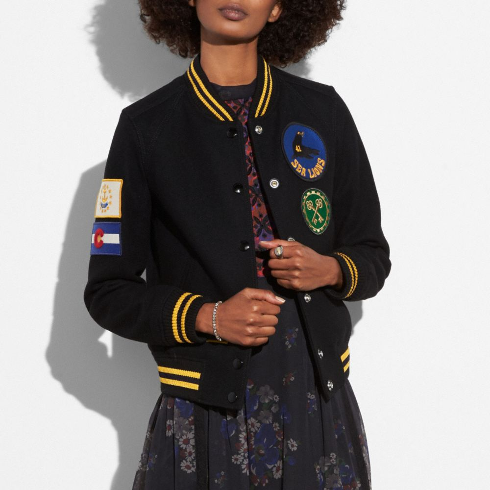 Coach Military Patch Varsity Jacket Alternate View 1
