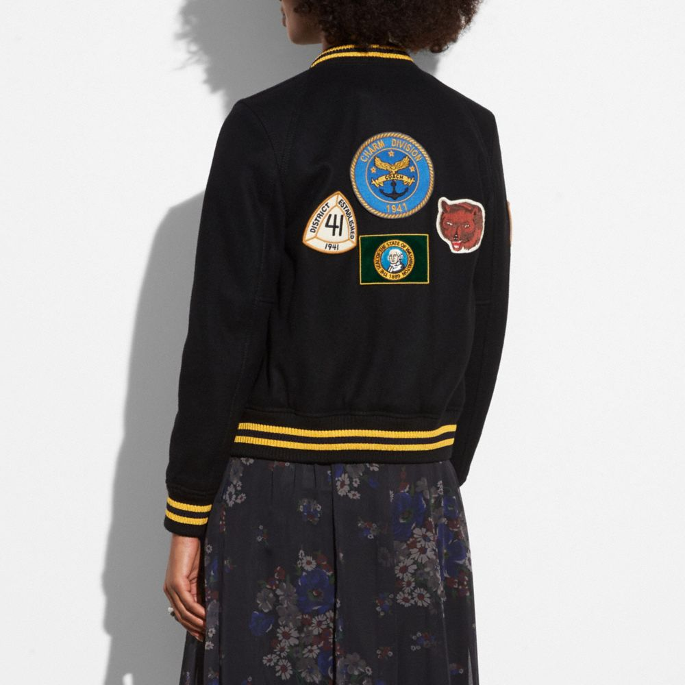 Coach Military Patch Varsity Jacket Alternate View 2