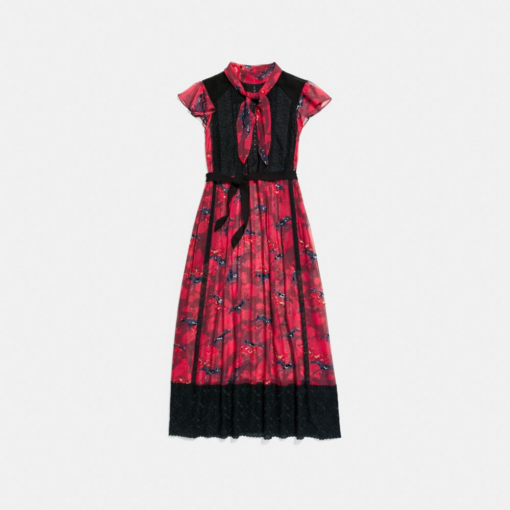 Coach Horse Print Lacework Dress With Necktie