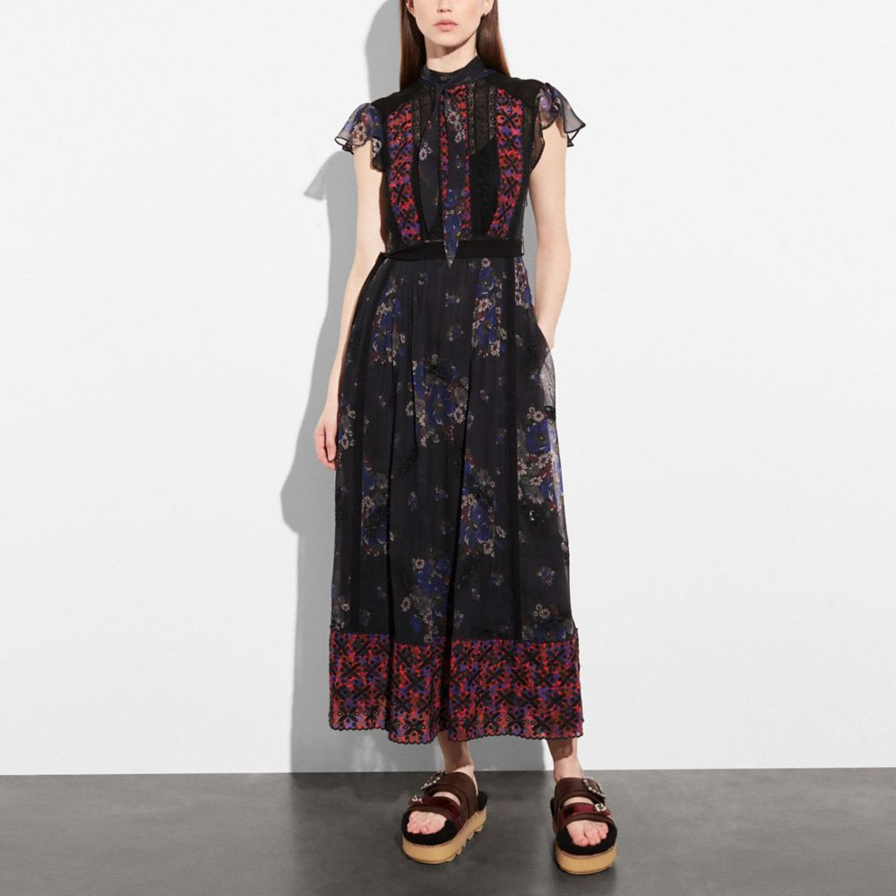 Coach Mixed Print Lacework Dress With Necktie Alternate View 1