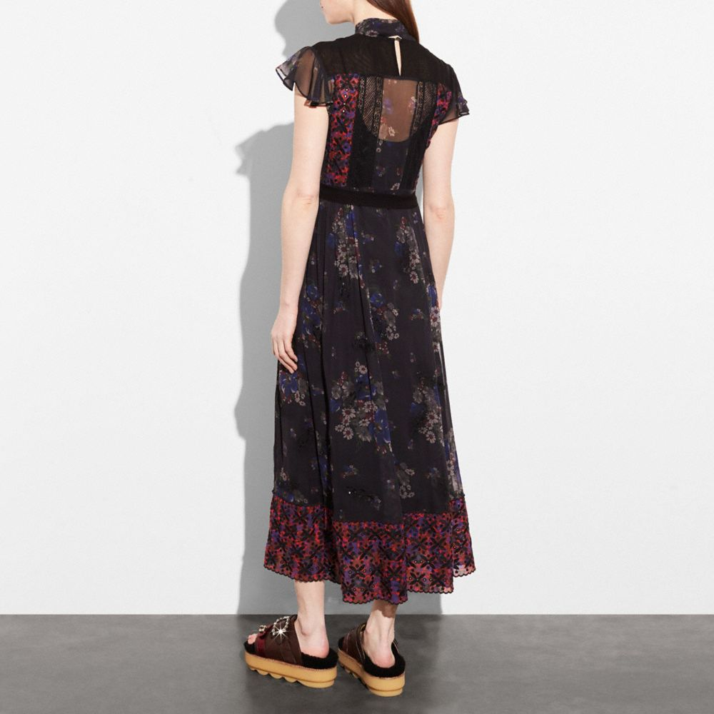 Coach Mixed Print Lacework Dress With Necktie Alternate View 2