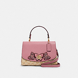 TILLY TOP HANDLE IN SIGNATURE CANVAS WITH BUTTERFLY APPLIQUE - IM/LT KHAKI/ ROSE - COACH 2306