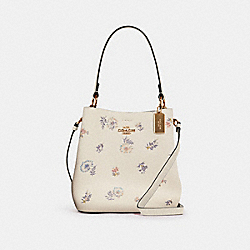 SMALL TOWN BUCKET BAG WITH DANDELION FLORAL PRINT - IM/CHALK LIGHT SADDLE - COACH 2310