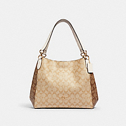 HALLIE SHOULDER BAG IN SIGNATURE CANVAS - IM/KHAKI/ LIGHT KHAKI/ CHALK - COACH 2313