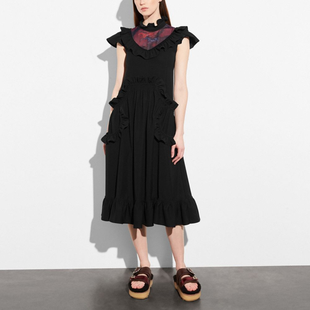Coach Sleeveless Ruffle Dress Alternate View 1
