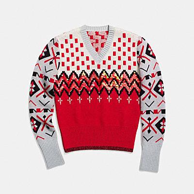 자카드 V넥 스웨터