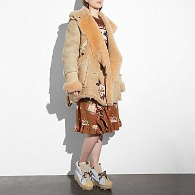 MANGOLIA翻皮羊毛單釦大衣
