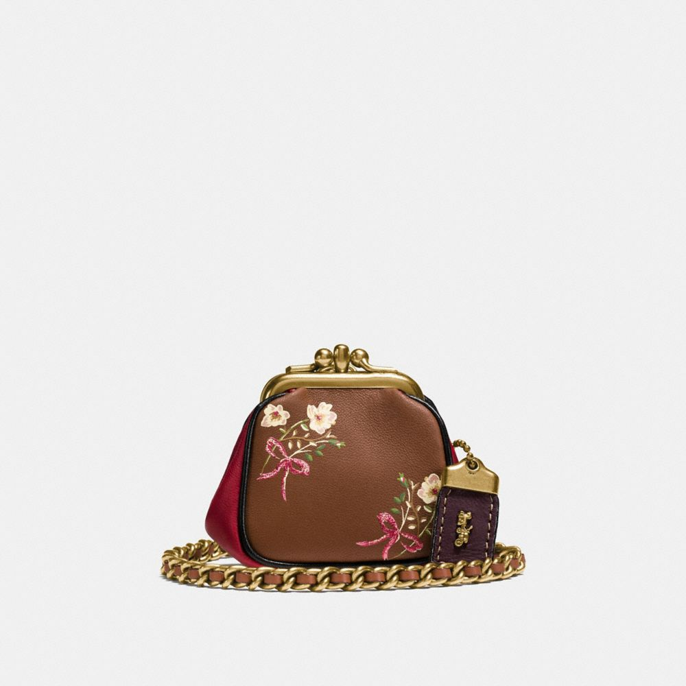 Coach Kisslock Pouch With Floral Bow Print