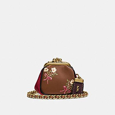 KISSLOCK 印花領結棒球手套鞣製NAPPA皮革小型手袋
