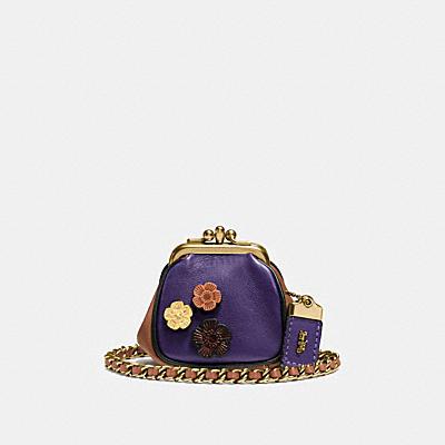 KISSLOCK 茶香玫瑰棒球手套鞣製NAPPA皮革小型手袋