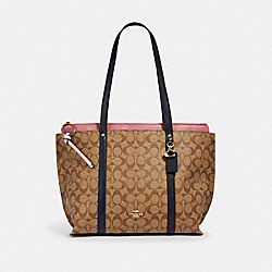 MAY TOTE IN COLORBLOCK SIGNATURE CANVAS - IM/KHAKI/ MIDNIGHT MULTI - COACH 2319