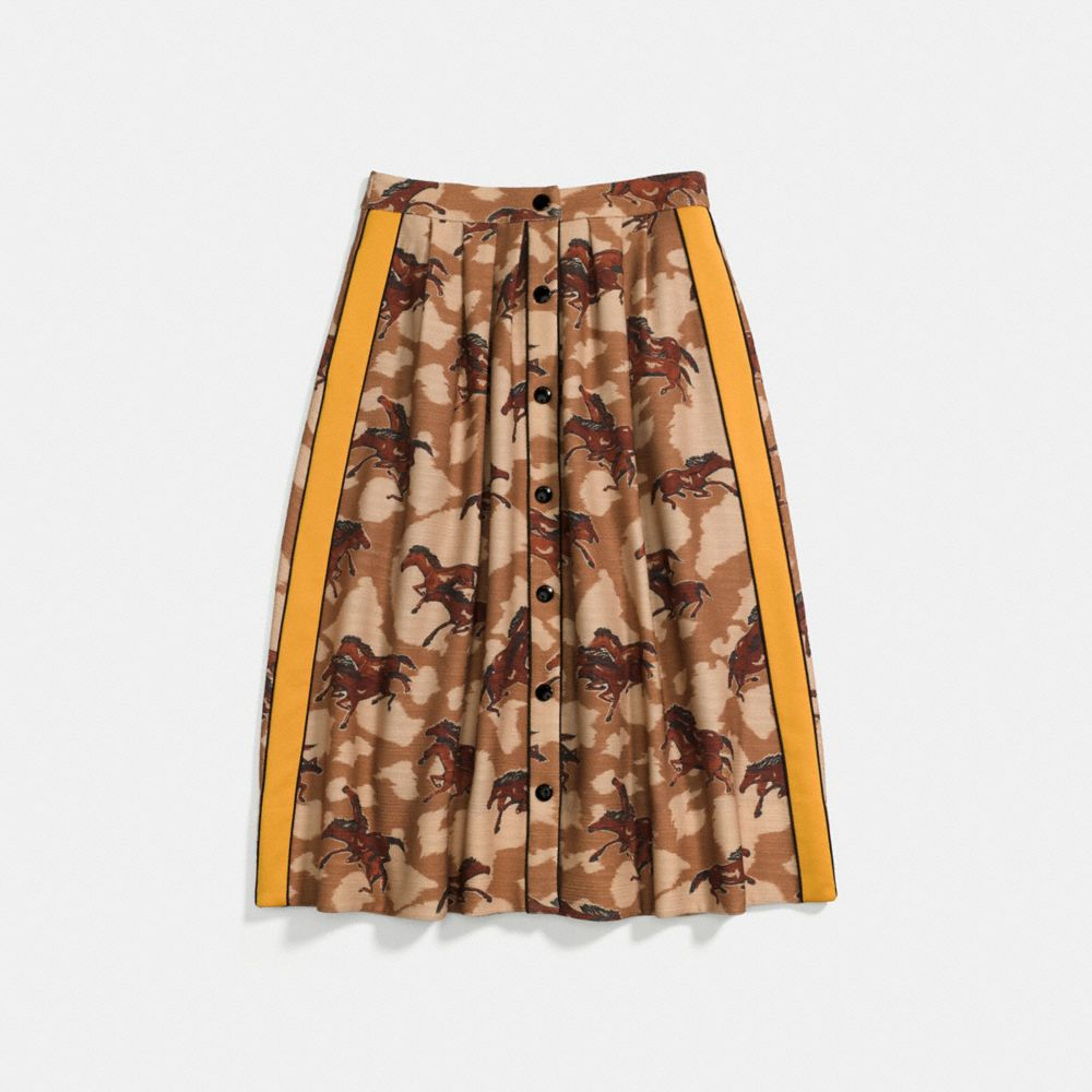 HORSE PRINT PLEATED SKIRT WITH SIDE PANEL