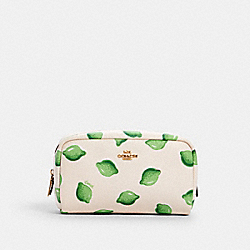 SMALL BOXY COSMETIC CASE WITH LIME PRINT - IM/CHALK GREEN MULTI - COACH 2345