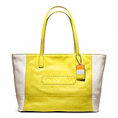LEGACY WEEKEND COLORBLOCK LEATHER MEDIUM ZIP TOP TOTE