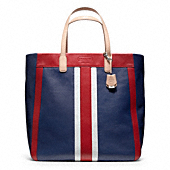LEGACY WEEKEND BEACH LEATHER STRIPE LARGE NORTH/SOUTH TOTE
