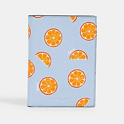 PASSPORT CASE WITH ORANGE PRINT - IM/ORANGE/BLUE - COACH 2352