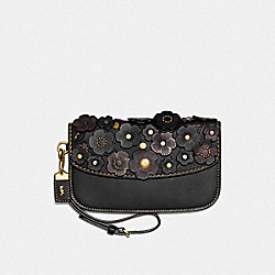 CLUTCH WITH SMALL TEA ROSE - BLACK/BRASS - COACH 23536