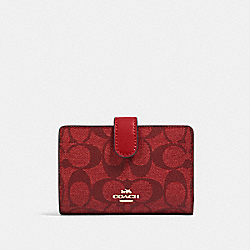 MEDIUM CORNER ZIP WALLET IN SIGNATURE CANVAS - IM/1941 RED - COACH 23553